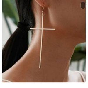 """Large Trendy Cross Earrings 3"""""""